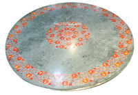 "24"" Green Marble Coffee Table Top Carnelian Inlay Floral Marquetry Decor H3039"