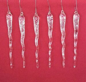 "Frontgate Christmas Ornaments Set of 6 Clear Textured Glass Hand Blown 5 1/2"" L"