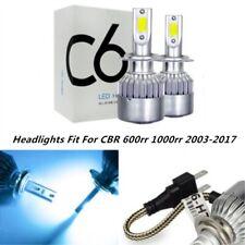 Pair Headlight Kit For Honda CBR 600rr 1000rr 2003-2017 8000K LED  H7 Lights
