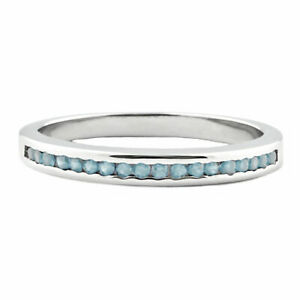 Silver Stackable Aquamarine Ice CZ Semi Eternity Wedding Band Ring, Lakoda BAQ