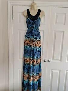 Ladies Blue & Orange Sleeveless Summer Maxi Dress Size 14 By Fat Face
