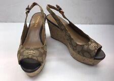 Coach Signature C Logo Ferry Platform Wedge Sandals Shoes Heels Size 5.5
