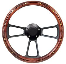 "Wood Steering Wheel & Black Billet 14"" Wheel fits any Car or Truck SHIPS FREE"