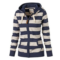 Fashion Women's Stripes Hooded Zipper Hoodies Pocket Sweatshirt Plus Size S-4XL