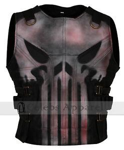 Frank Castle Season 2 Punisher Skull Mens Biker Leather Vest Jacket