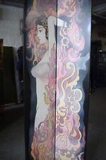 Chinesischer Paravent, 4 Elemente je ca  41 x 213 cm, Motiv: Frau in Flammen