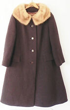 Vtg Woven Wool Coat Dark Brown w/ Mink Fur Collar 3/4 Sleeve A-Line Full Lined