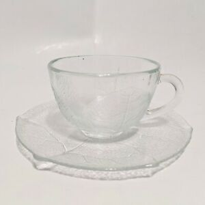 ARCOROC Aspen Leaf Cup and Saucer Clear Glass Made in France