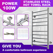 10 Heated Bars Hot Towel Warmer Electric Drying Rack Stainless Steel 100W