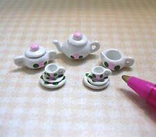 Miniature DOLLHOUSE Dolls' Doll's Teaset (Got That?) Pink Floral 1:24 Miniature