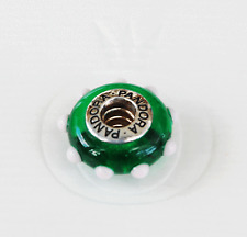 "Genuine Pandora Murano Glass Bead ""Seeing Spots""  Green/White 79627 - retired"