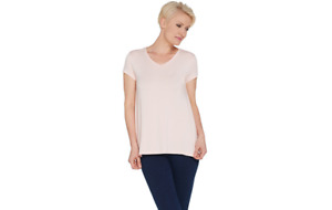 H by Halston Essentials V-Neck Top with Forward Notch Detail Pink M A306231 QVC