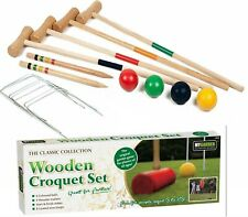 4 Player Wooden Croquet Set Mallet Kids Adult Fun Outdoor Garden Games Toy Uk