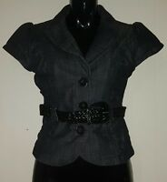 Ladies Size 8 Charcoal Denim Button up Top with Belt - TEMT
