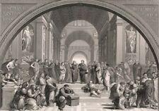 Greece PLATO SCHOOL OF ATHENS Philosophy ~ 1882 RAPHAEL Vatican Print Engraving
