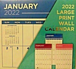 "Large Print 2022 Wall Calendar 11""X12"" w"