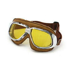 Classic Motorcycle Goggles Brown Yellow Lens vintage old school retro leather