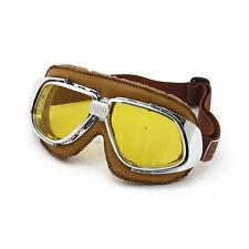 Gafas de Motocicleta Clásica Amarillo Marrón Cuero Retro de la vieja escuela vintage de lente