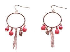 Red Beads & Crystal, Leaf Charm & Dual Metal Strands Chandelier Earrings(Zx181)