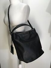Burberry Ashby black soft leather studded bucket bag silver studs shoulder grab