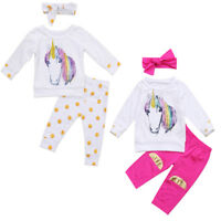 USA 3Pcs Newborn Baby Girls Unicorn Tops T-shirt +Long Pants Kids Outfit Clothes
