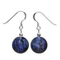 Ohrringe Ohrhänger aus Dumortierit Kugel dunkelblau-violett & 925 Silber