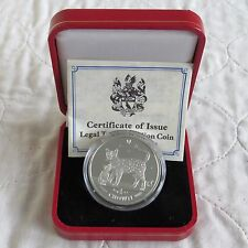 ISOLA di Man 2002 1 OZ (ca. 28.35 g) GATTO DEL BENGALA .999 Fine Silver Proof Crown-boxed/COA