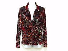 Kay Celine Burned Velvet Floral Paisley Long Sleeve Hook Eye Closure Low V Neck
