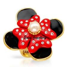 Stunning Disney Couture MAWI London MINNIE MOUSE Ring Gold Plated Pearl Crystal