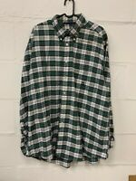 Nautica Flannel Plaid Check Long Sleeve Shirt Size XL Button Down Green