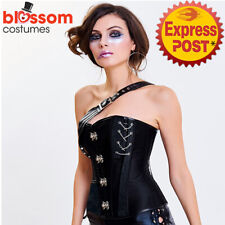 CC103 Steampunk Boned Faux Leather Corset Brocade Jacket Goth Halloween Costume