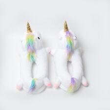 Unicorn NO Light Up Slippers Novelty Soft Unisex Size 12 Plush Footwarmer