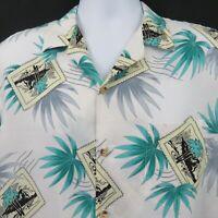 Turquoise White Diamond Head Post Card Vintage Mens L Aloha Hawaiian Shirt