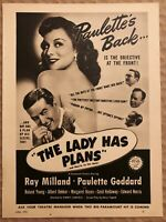 RARE Vintage 1942 THE LADY HAS PLANS AD Paulette Goddard Ray Milland FRAME IT