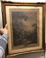 Gravure Boucher XVIIIeme Ancien La Pêche Ancien Régime Louis XVI