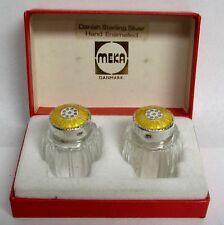 Meka Denmark Sterling Silver Golden Enamel Mini Crystal Salt & Pepper Shakers