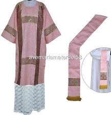 Roman Style Rose Deacon Dalmatic Vestment Set with Stole and Maniple Size: Large
