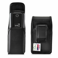 ZTE Cymbal Z320 Black LEATHER Magnetic Closure Case Executive Belt Cli