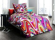 Fleuresse Mako Satin Milano Bettwäsche 135x200cm 2 tlg. Bunt Wellen Design