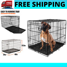 "Dog Crate Kennel 48"" Folding Pet Cage Metal Xl Xxl Single Door Tray Pan +Divider"