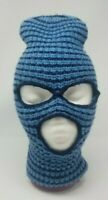 Vtg WINTER SKI MASK HAT Robber Full Face 3 Hole 70s/80s Multi-Color BLUE Stripes