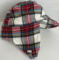 0-6 MONTH BABY GAP Red Ivory COZY PLAID Flannel Trapper Hat Cap Boy NWT