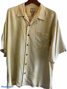 TOMMY BAHAMA Size X Large 100%  Silk Short Sleeve Pale Yellow Subtle Palms EUC