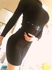 lipsy NP190€ strickkleid mini kleid schwarz bodycon party sexy gürtel xs 34 asos