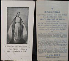 OLD BLESSED BEATRIZ DE SILVA HOLY CARD 1927 FRANCISCAN ANDACHTSBILD SANTINI C572