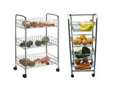 3 TIER TROLLEY CHROME VEGETABLE FRUIT STORAGE CART KITCHEN RACK WITH WHEELS