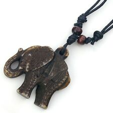 NEW ANTIQUE COLORED PLASTIC ELEPHANT PENDANT ON BLACK CORD NECKLACE #WYN1008