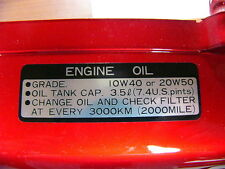 Honda CB 750 four sandcast k0 autocollant CITERNE NEUF plate, Oil caution