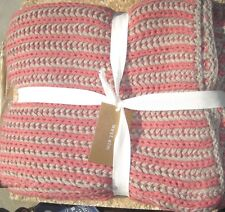 """WEST ELM ~ CHAIN RIB THROW ~ CLAY / FLAX ~ 50"""" x 60"""" ~ SOLD OUT AT WE"""