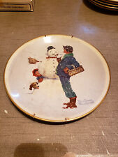 New listing 1976 Norman Rockwell Limited Edition Gorham Winter - Snow Sculpture Plate,10 3/4